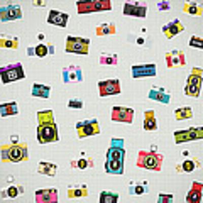 Retro Camera Pattern Poster by Setsiri Silapasuwanchai
