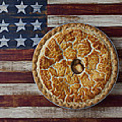 Apple Pie On Folk Art  American Flag Poster