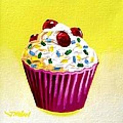 Cupcake With Cherries Poster