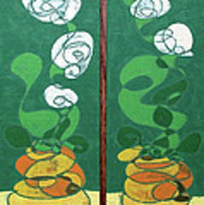 Floral Diptych In Green And Orange Poster by John Gibbs