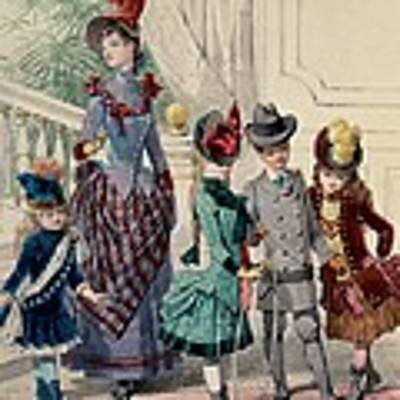 Mother And Children In Indoor Costume Poster by Jules David