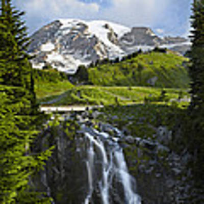 Myrtle Falls And Mount Rainier Mount Poster by Tim Fitzharris