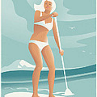 Paddleboarding Seattle Poster by Mitch Frey