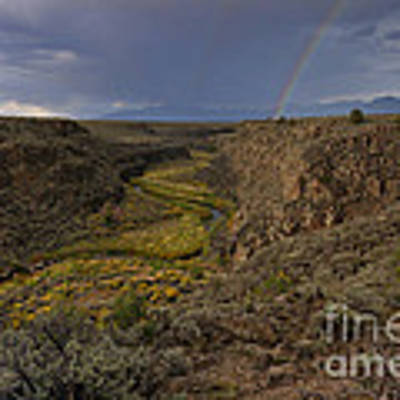 Rainbow Over The Rio Pueblo Poster by Ron Cline