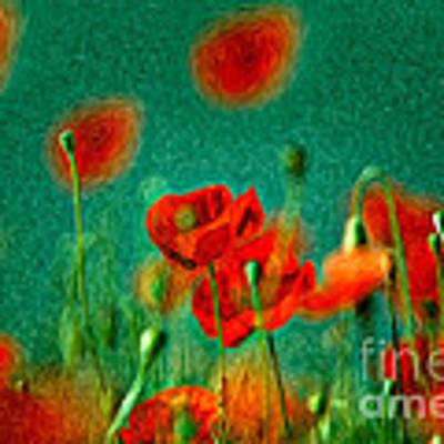 Red Poppy Flowers 07 Poster by Nailia Schwarz