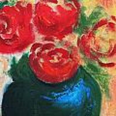 Red Roses In Blue Vase Poster by G Linsenmayer