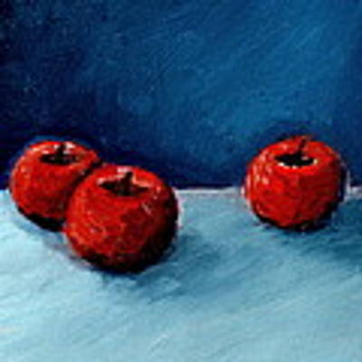 Three Red Apples Poster by Michelle Calkins