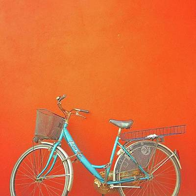 Blue Bike In Burano Italy Poster by Anne Hilde Lystad