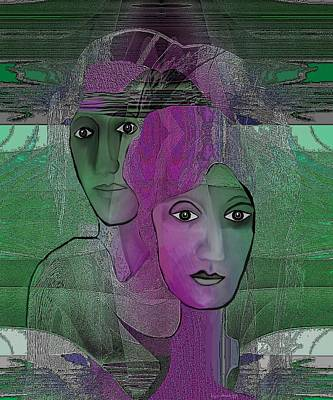 300 - Couple Purple - Green Poster by Irmgard Schoendorf Welch