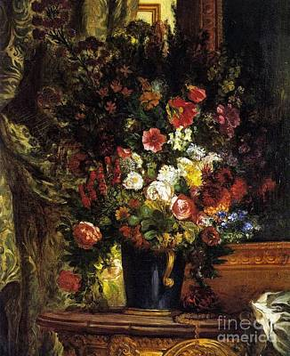A Vase Of Flowers On A Console Poster