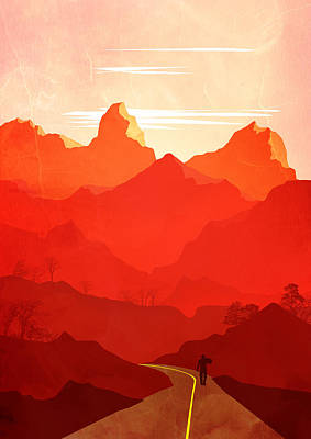 Abstract Landscape Mountain Road Art 5 - By Diana Van Poster by Diana Van