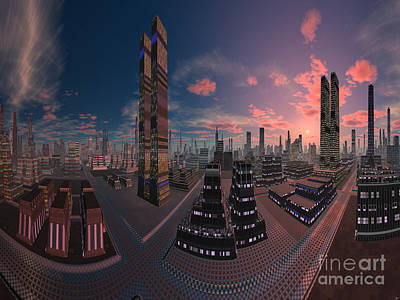 Amsterdam City Nighttime Image Poster by Heinz G Mielke