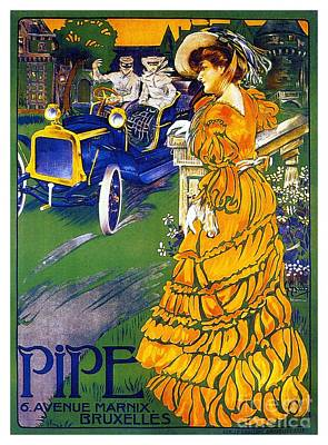 Art Nouveau Car Advert 1890s Pipe From Brussels Poster