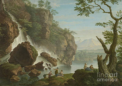 Bathers Near A Waterfall Poster by MotionAge Designs