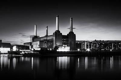 Battersea Power Station In Monochrome Poster by Ian Hufton