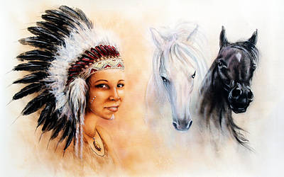 Beautiful  Painting Of A Young Indian Woman Wearing A Gorgeous Feather Headdress  Poster by Jozef Klopacka