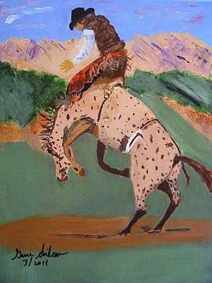 Bronco Rider On A Horse Poster by Swabby Soileau