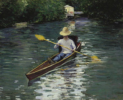 Canoe On The Yerres River Poster by Gustave Caillebotte