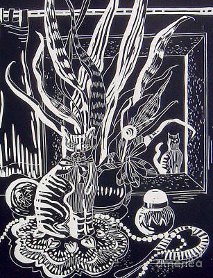 Cat On Dresser Poster by Linda Shackelford