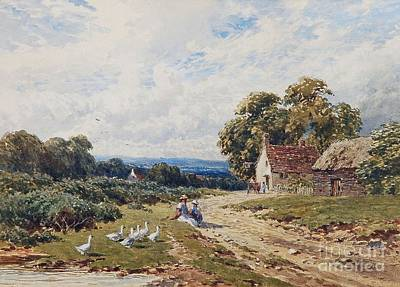 Children And Geese Before A Cottage Poster