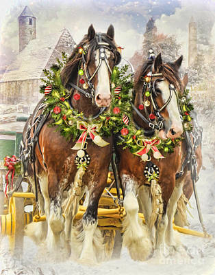 Poster featuring the digital art  Christmas Clydesdales by Trudi Simmonds