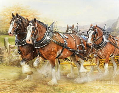 Poster featuring the digital art  Clydesdales In Harness by Trudi Simmonds