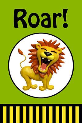 Cute Lion Roaring Poster