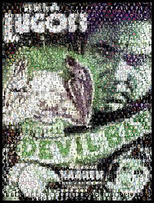 Poster featuring the mixed media  Devil Bat Movie Poster Horror Mosaic by Paul Van Scott