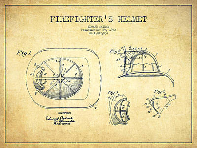 Firefighter Helmet Patent Drawing From 1932 - Vintage Poster by Aged Pixel