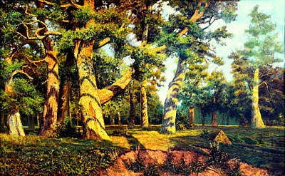 Poster featuring the painting   Green Summer-the Oak Forest by Henryk Gorecki