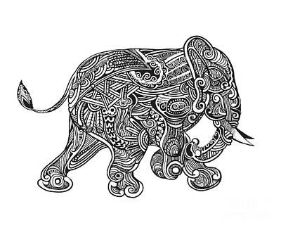 Hand Drawn Isolated Ethnic Elephants Poster