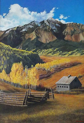 Poster featuring the painting  I Will Lift Up My Eyes To The Hills Autumn Nostalgia  Wilson Peak Colorado by Anastasia Savage Ealy