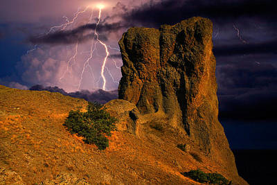 Lightning Over The Cliff  Poster