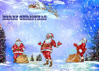 Poster featuring the painting  Merry Christmas To My Friends In The Faa by Andrzej Szczerski