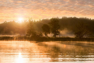 Misty River Sunrise At Boy Lake Poster by Patti Deters
