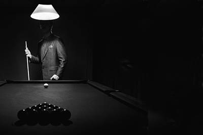 Mystery Pool Player Behind Rack Of Poster