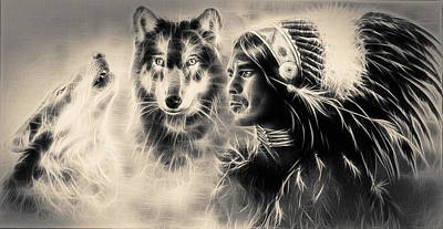Painting  Young Indian Warrior Accompanied With Two Wolves. Poster by Jozef Klopacka
