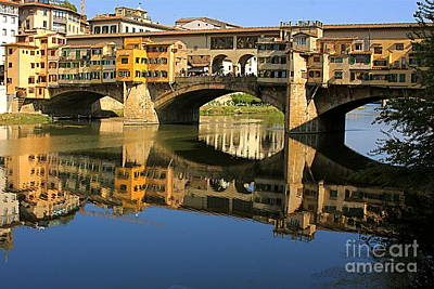 Poster featuring the photograph  Ponte Vecchio Reflection by Nicola Fiscarelli