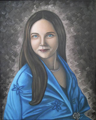 Portrait Of A Lady Oil On Canvas Painting  Poster