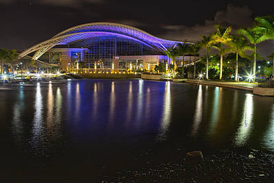 Puerto Rico Convention Center At Night Poster by George Oze
