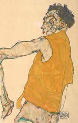 Self-portrait In Yellow Vest Poster by Egon Schiele