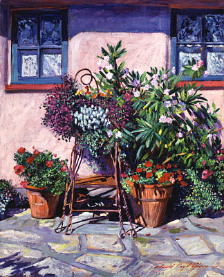 Shadows And Flower Pots Poster by David Lloyd Glover