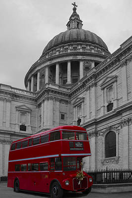 St Pauls Cathedral Red Bus Poster by David French