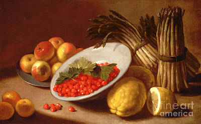 Still Life Of Raspberries Lemons And Asparagus  Poster by Italian School