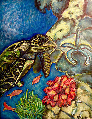 Poster featuring the painting  Sweet Mystery Of The Sea A Hawksbill Sea Turtle Coasting In The Coral Reefs Original by Kimberlee Baxter