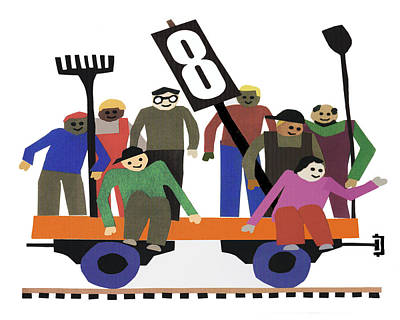 Train Car With Workers Poster