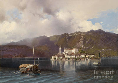 View Of Isola San Giulio In Lake Orta Poster by Celestial Images
