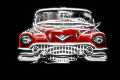 Vintage Cars Poster featuring the photograph  Vintage Red Cadillac by Aaron Berg