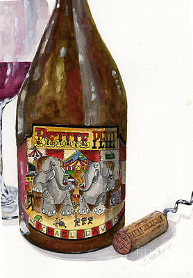 Wine Bottle  And Cork Still Life Poster by Sheryl Heatherly Hawkins