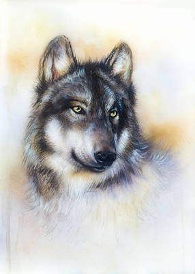 Wolf Painting On Canvas Color  Background On Paper  Multicolor Illustration Poster by Jozef Klopacka